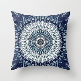 Indigo Navy White Mandala Design Throw Pillow