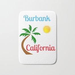 Burbank California Palm Tree and Sun Bath Mat
