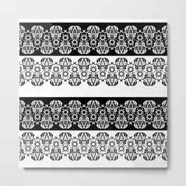 Black and white lace pattern . Metal Print