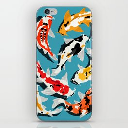 Colorful Koi Carps Swimming Around iPhone Skin