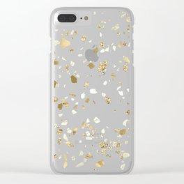 Blue Gold Modern Terrazzo Clear iPhone Case