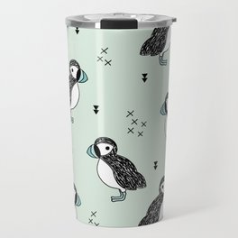 Cute Icelandic Puffin birds mint pattern Travel Mug