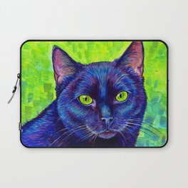 Black Cat with Chartreuse Eyes Laptop Sleeve