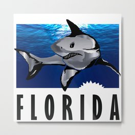 Florida Shark in Deep Blue Metal Print