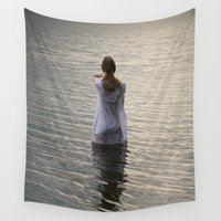 depression Wall Tapestries featuring Dreaming in the water by Maria Heyens