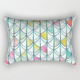 Pencil & Paint Fish Scale Cutout Pattern - white, teal, yellow & pink Rectangular Pillow