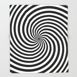 Black And White Op Art Spiral Throw Blanket