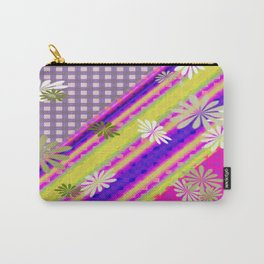 Plaid Design Modern with Decorative Flowers Carry-All Pouch