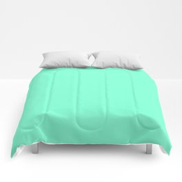 Simple Solid Color Aquamarine All Over Print Comforters