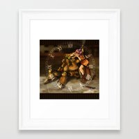 chrono trigger Framed Art Prints featuring Chrono Clock by Astrobunny
