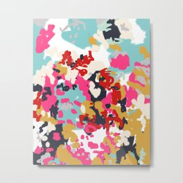 Inez - Modern Abstract painting in bold colors for trendy modern feminine gifts ideas  Metal Print