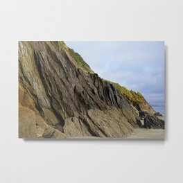 Natural Textured Cliff Face with Blue Skies Metal Print