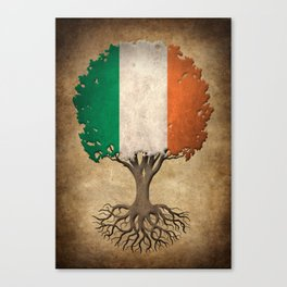 Vintage Tree of Life with Flag of Ireland Canvas Print