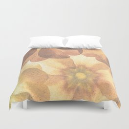 Orange Effect Flowers Duvet Cover