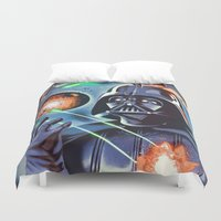 death star Duvet Covers featuring My little Death Star by Santiago Sarquis