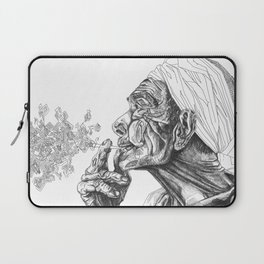 Geometric Graphic Black and White Smoker Drawing Laptop Sleeve