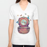 surrealism V-neck T-shirts featuring Inner Space by Terry Fan