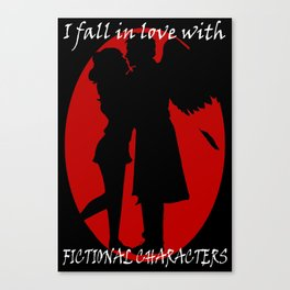 I Fall In Love With Fictional Characters: Castiel Canvas Print