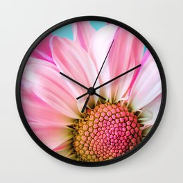 Beautiful Pink Flower Macro, Turquoise Blue Backdrop Wall Clock