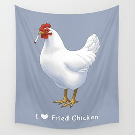 Funny Fried Chicken Pot Smoking White Hen Wall Tapestry