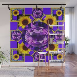 WESTERN AMETHYST GEMS PURPLE SUNFLOWER ART Wall Mural