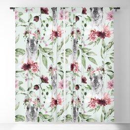 llama alpaca floral watercolor pattern Blackout Curtain