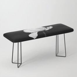 White Peony Black Background Bench
