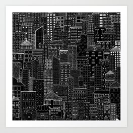 City Doodle (night) Art Print