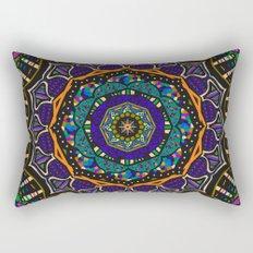 Mindful Energy Meditation Mandala in Purple and Orange Rectangular Pillow