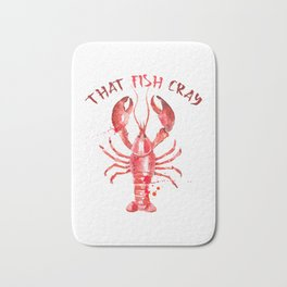 That Fish Cray red Lobster Watercolors Illustration Bath Mat