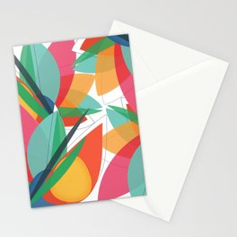 Abstract multicolored tropical flower, bird of paradise, superimposed shapes and transparencies Stationery Cards