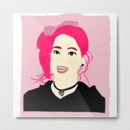 Knock Knock! Dahyun Pink Metal Print