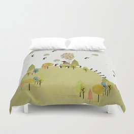 oh my how penguins fly Duvet Cover