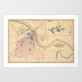 Vintage Map of New Brunswick NJ (1872) Art Print