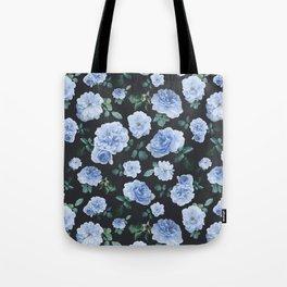 Blue Roses Flower pattern Tote Bag