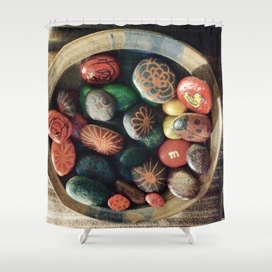Rock art in ceramic bowl Shower Curtain
