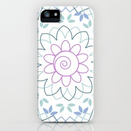 Floral Mandala with leaves in soft pastel colors iPhone Case