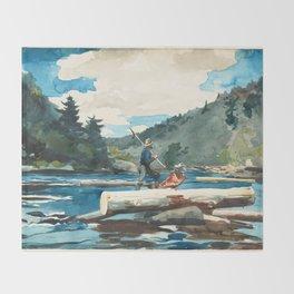 Logging on the Hudson River Throw Blanket
