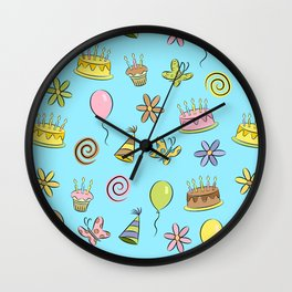 """Birthday"" (Blue) Wall Clock"
