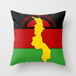Malawi Map on a Malawian Flag Throw Pillow