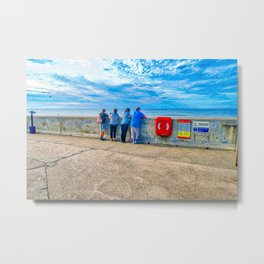 Watching The Sea at Sheringham Beach, U.K Metal Print