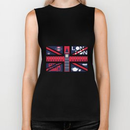 Vintage Union Jack UK Flag with London Decoration Biker Tank