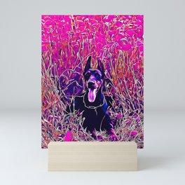 doberman dog red flowers meadow vector art purple Mini Art Print