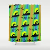 rowing Shower Curtains featuring Keep Rowing Your Boat MF by Trippin Up