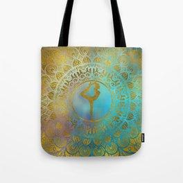 Yoga Asana Symbol in Gold Mandala Tote Bag