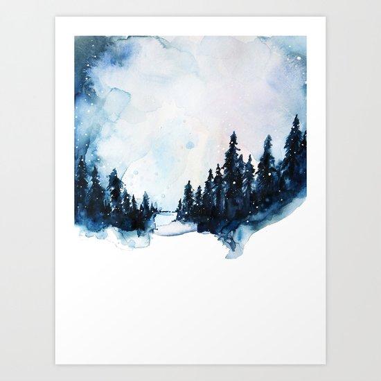 Winter Watercolor Art Print