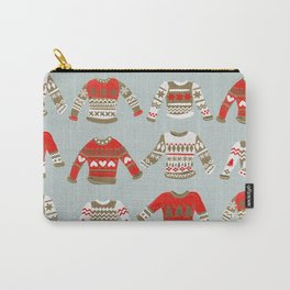 Christmas Sweaters – Vintage Gold & Red Palette Carry-All Pouch