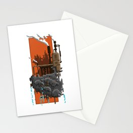 Pixel Landscape : Steam Factory Stationery Cards