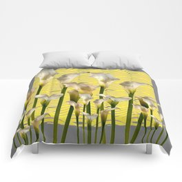 Grey & Yellow Pattern Calla Lilies Art Comforters