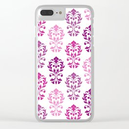 Heart Damask Art I Pinks Plums White Clear iPhone Case
